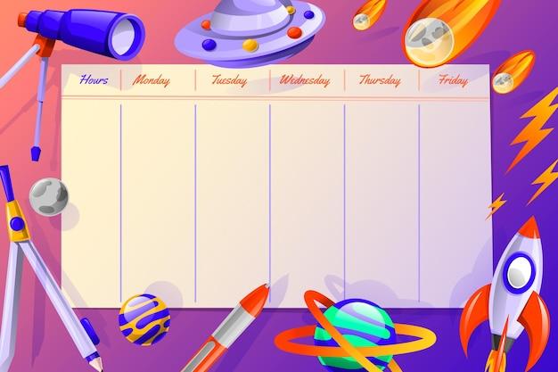 Gradientowy szablon planu lekcji z powrotem do szkoły