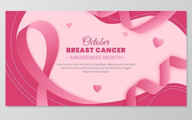Gradientowy szablon postu w mediach społecznościowych miesiąca świadomości raka piersi