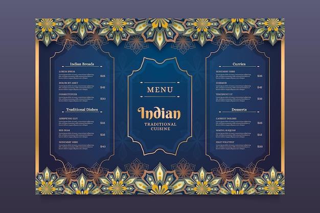 Gradientowy szablon projektu menu indyjskiego
