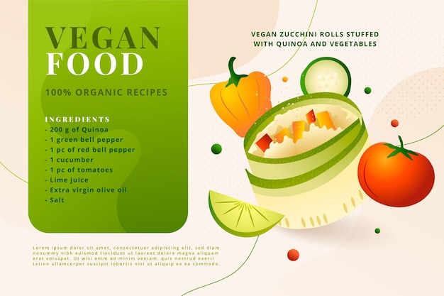 Gradientowy szablon przepisu wegetariańskiego