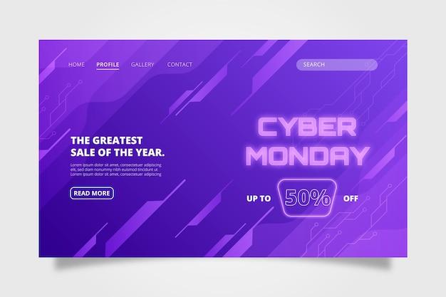 Gradientowy szablon strony docelowej cyber poniedziałek