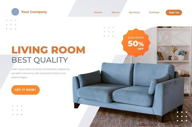 Gradientowy szablon strony docelowej sprzedaży mebli ze zdjęciem
