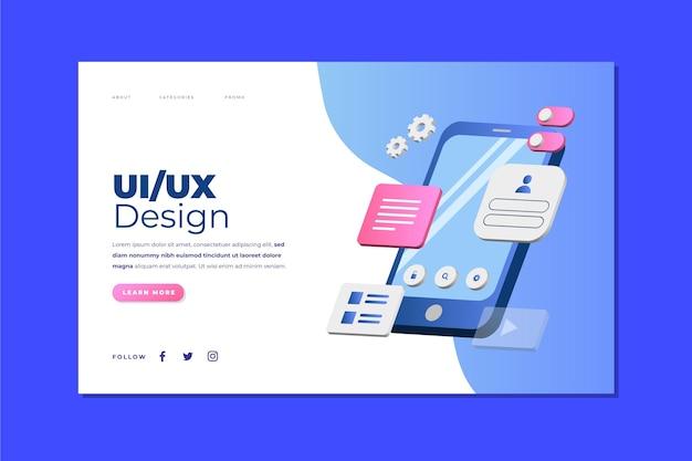 Gradientowy szablon strony docelowej ui/ux