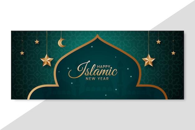 Gradientowy szablon transparentu islamskiego nowego roku