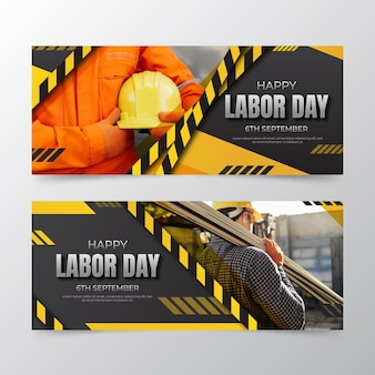 Gradientowy szablon transparentu poziomego dnia pracy w usa