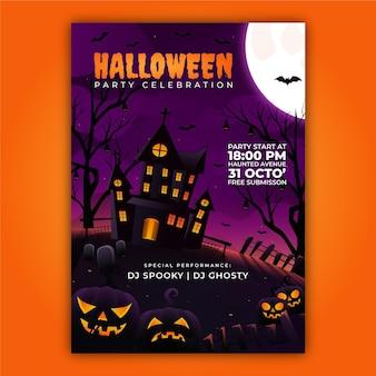 Gradientowy szablon zaproszenia na halloween