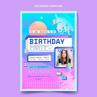 Gradientowy szablon zaproszenia urodzinowego retro vaporwave
