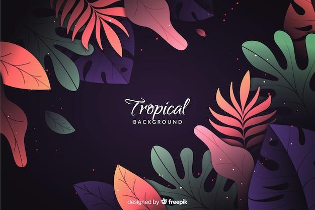 Gradientowy tło z tropikalnymi liśćmi