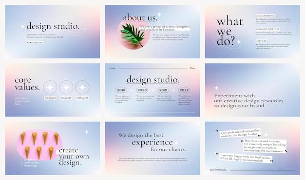 Gradientowy wektor szablonu prezentacji biznesowej z edytowalną kolekcją tekstów