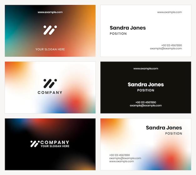 Gradientowy wektor szablonu wizytówki dla firmy technologicznej w zestawie w nowoczesnym stylu