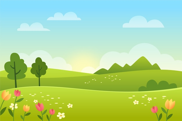 Gradientowy wiosna krajobraz z polem
