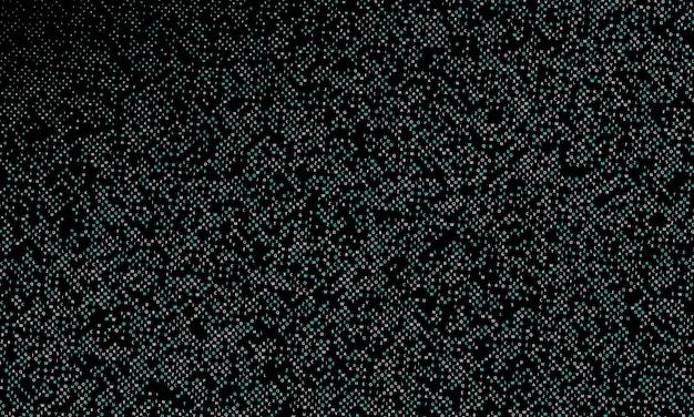 Gradientowy wzór półtonów. niebieskie i białe cząsteczki na czarnym tle.