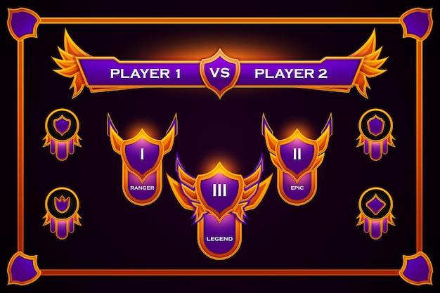 Gradientowy zespół odznak gier e-sportowych w kolorze fioletowym i pomarańczowym
