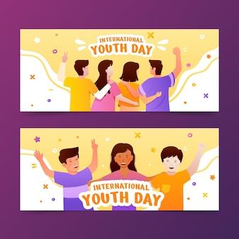 Gradientowy zestaw banerów międzynarodowych dni młodzieży