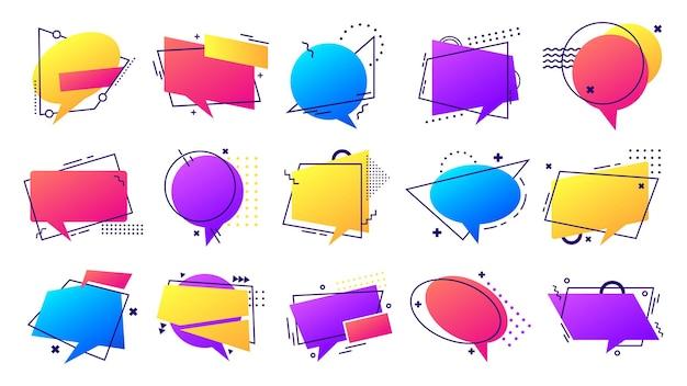 Gradientowy zestaw bańki mowy. kolorowe ramki z liniami i kropkami do wypowiedzi i wiadomości, cytatów i komentarzy. okrągłe, prostokątne, owalne kształty lub balony do ilustracji wektorowych cytatów