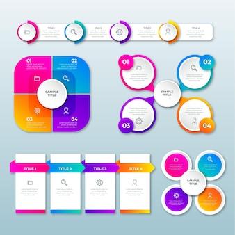 Gradientowy zestaw elementów infografiki