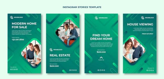 Gradientowy zestaw historii na instagramie nieruchomości