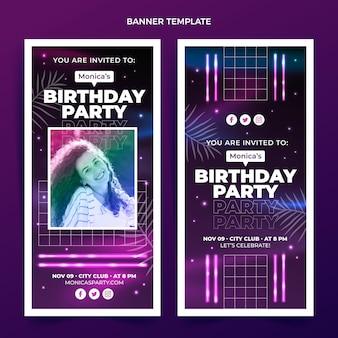 Gradientowy zestaw pionowych banerów urodzinowych retro vaporwave