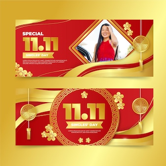 Gradientowy zestaw poziomych banerów złoty i czerwony dzień singli
