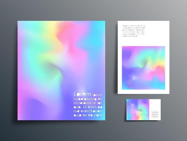 Gradientowy zestaw projektowy do broszury, okładki ulotki, wizytówki, abstrakcyjnego tła, plakatu lub innych produktów poligraficznych. ilustracja wektorowa.