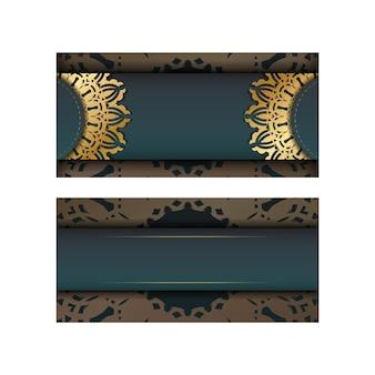 Gradientowy zielony gradient kartkę z życzeniami z indyjskimi złotymi ornamentami przygotowanymi do typografii.
