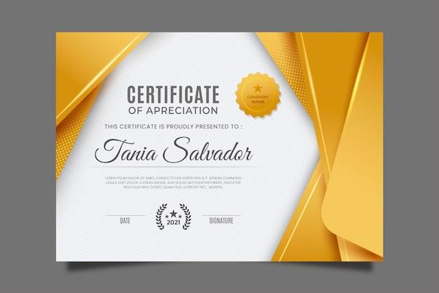 Gradientowy złoty certyfikat luksusu