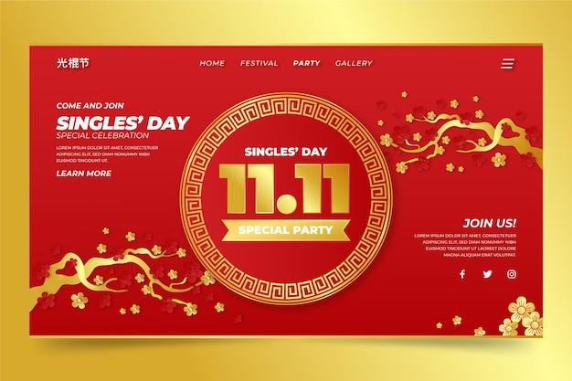 Gradientowy złoty i czerwony szablon strony docelowej dla pojedynczego dnia