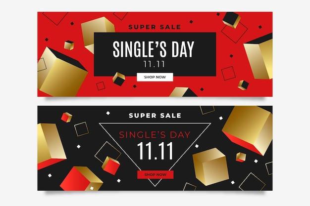Gradientowy złoty i czerwony zestaw poziomych banerów sprzedażowych na dzień singli