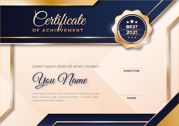 Gradientowy złoty luksusowy niebieski certyfikat darmowy