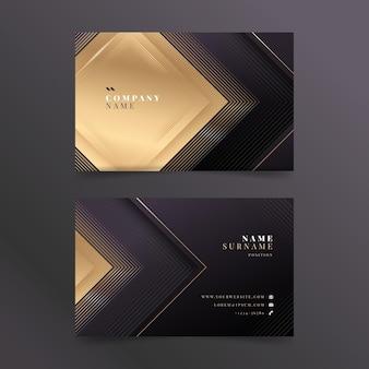 Gradientowy złoty luksusowy poziomy szablon wizytówki