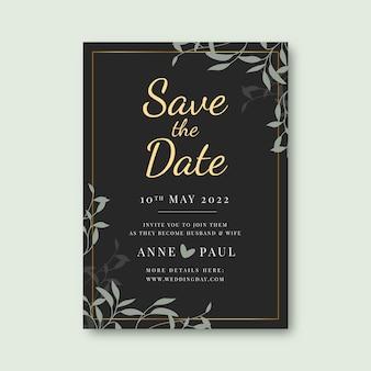 Gradientowy złoty luksusowy szablon zaproszenia ślubnego
