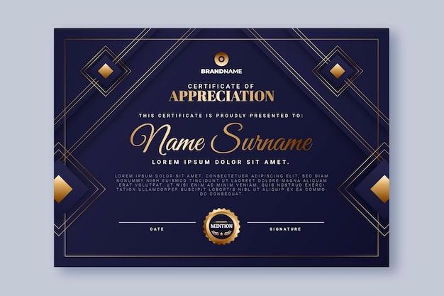 Gradientowy złoty szablon certyfikatu luksusowego