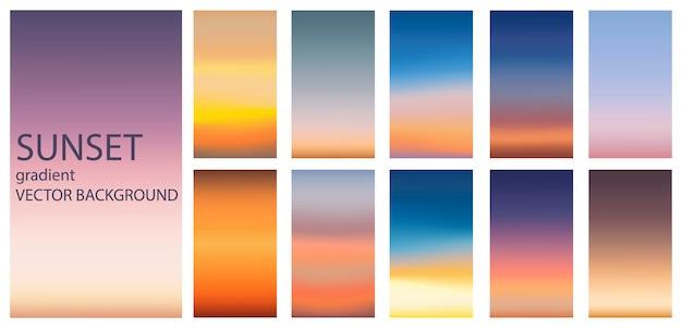 Gradientowy zmierzchu wschodu słońca tła set