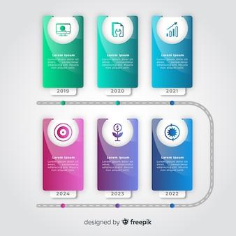 Gradientu na osi czasu infographic kolorowy szablon