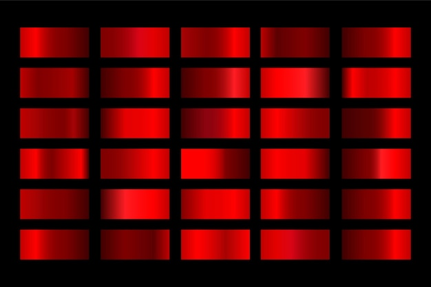 Gradienty zestaw metalicznych gradientów koloru czerwonego.