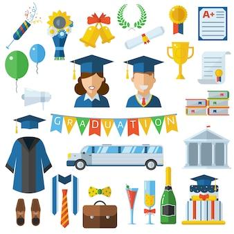 Graduation dzień wektor zestaw ikon elementów uroczystości w płaskiej konstrukcji.