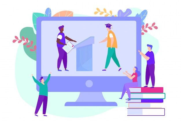 Graduation online. ludzie patrzą na monitor. nauka na odległość. e-learning. student