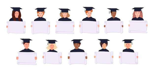 Graduation studentów protestujących aktywistów kreskówki. ludzie w akademickich czapkach, sukni. różne narody