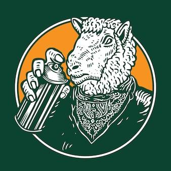 Graffiti bomber lamb sheep character design