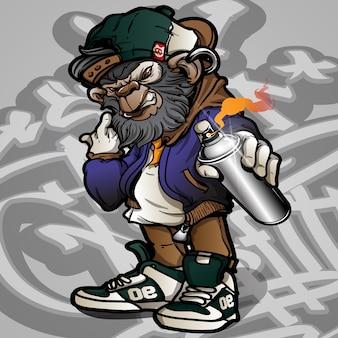 Graffiti charakter hip-hopu małpa trzyma farby w sprayu