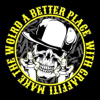 Graffiti czaszki w chustce i czapce trzymają farbę w sprayu. rysunek odręczny,