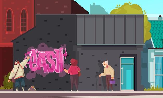 Graffiti kompozycja kreskówek z kobietą i starcem obserwującym artystę ulicznego malowanie natryskowe ilustracji ściennej