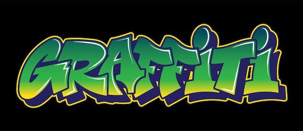 Graffiti napis ozdobny napis wandal sztuka uliczna wolny dziki styl na ścianie miasta miejskie nielegalne działanie za pomocą farby w aerozolu. podziemny typ hip-hopu. nowoczesna ilustracja.