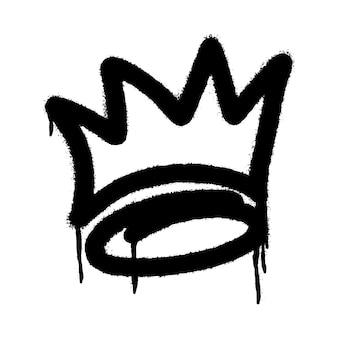 Graffiti spray ikona korony z nad sprayem na czarno na białym. ilustracji wektorowych.