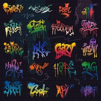 Graffiti wektorowy graffito pociągnięcia pędzla literowanie lub graficzna grunge typografii ilustracja