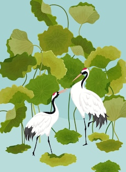 Graficzna Ilustracja Japońskich żurawi I Tropikalnych Kwiatów Lotosu Do Projektowania Koszulek, Wydruków Mody, Banerów, Ulotek W Wektorze Premium Wektorów