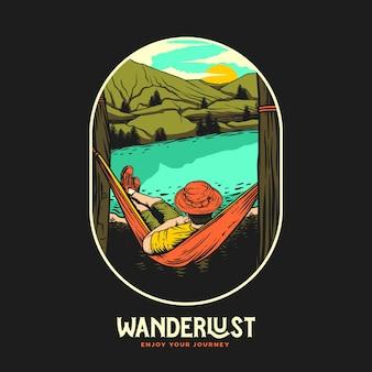 Graficzna ilustracja przygody wanderlust adventure