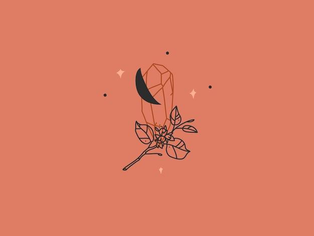 Graficzna ilustracja z elementem logo, logo kryształowej sylwetki, półksiężycem i kwiatami