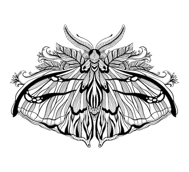 Graficzna ilustracja z mistycznym ćmą i okultystycznymi ręcznie rysowane symbolami. astrologiczna i ezoteryczna koncepcja masonerii. stary styl vintage.