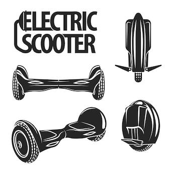 Graficzna kolekcja skuterów elektrycznych narysowana w stylu sztuki linii. koło mono i hoverboard na białym tle na tablicy.